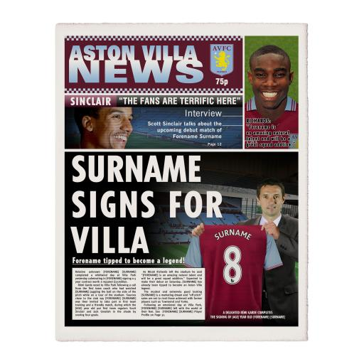 Aston Villa FC News Single Page Print