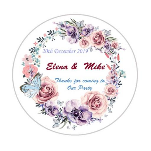 Personalised Labels/Invitations/Stickers - Text with Purple & Pink Wreath