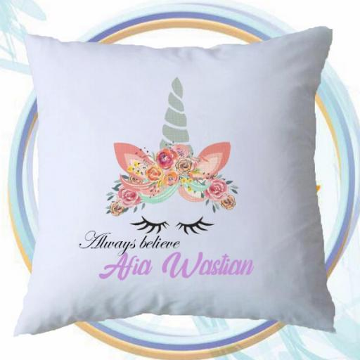 Personalised 'Always Believe' Cushion Cover with Unicorn Design – Add Name