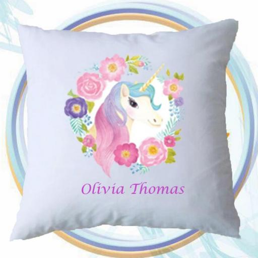 Personalised Cushion Cover with Unicorn Wreath Design – Add Name
