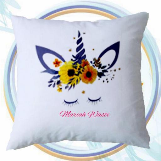 Personalised Cushion Cover with Sunflower Unicorn Design – Add Name