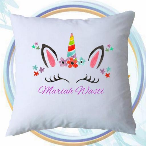 Personalised Unicorn Inspired Add Your Name Cushion