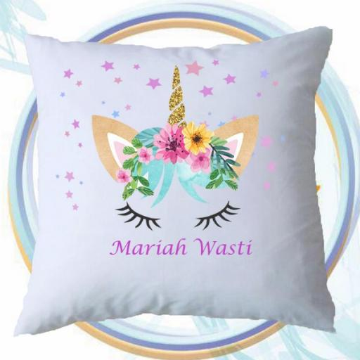 Personalised Cushion Cover with Stars & Unicorn Design – Add Name