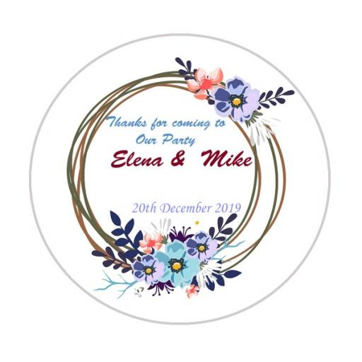 Personalised Labels/Invitations/Stickers - Text with Modern Flower Wreath