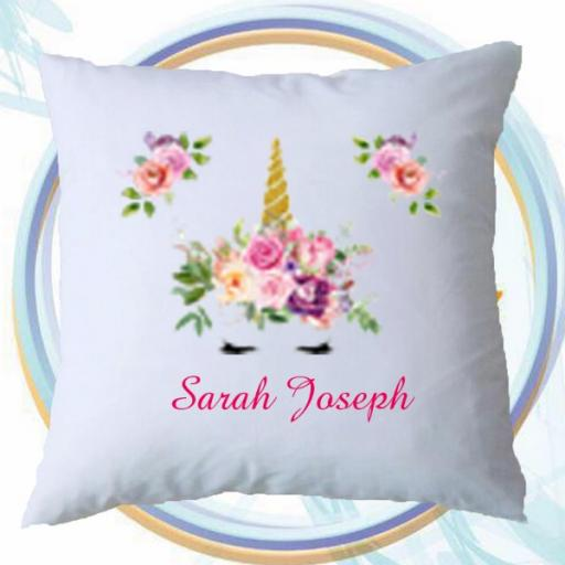 Personalised Cushion Cover with Spring Unicorn Design – Add Name