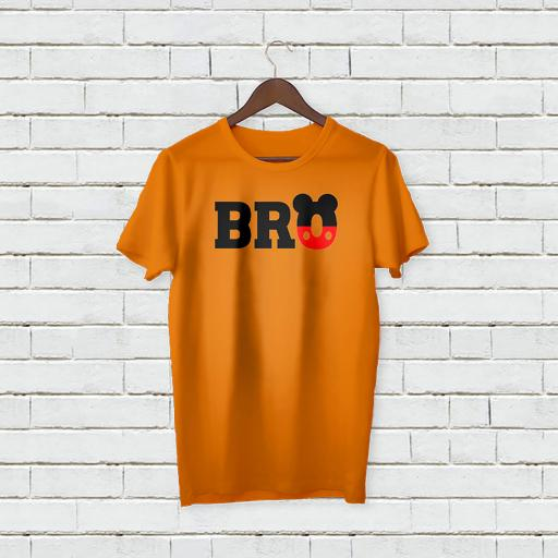 Personalised Micky Mouse inspired BRO Logo T-Shirt - Add Your Text/Name