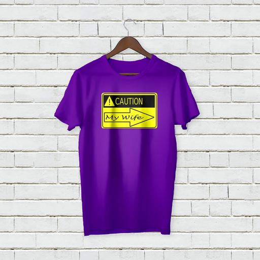 Personalised Text Caution My Wife T-shirt (2).jpg