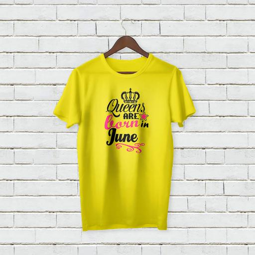Personalised Text Your Name On Crown Logo Queens Are Born In June T-Shirt (2).jpg