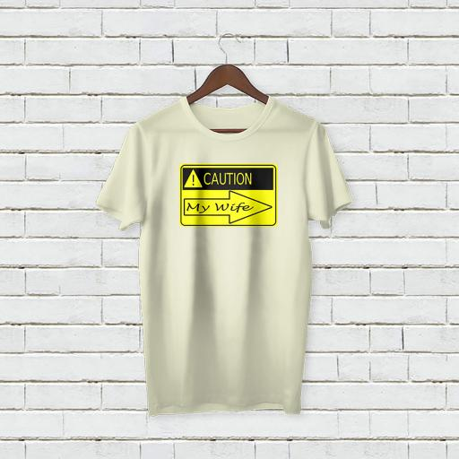 Personalised Text Caution My Wife T-shirt (1).jpg