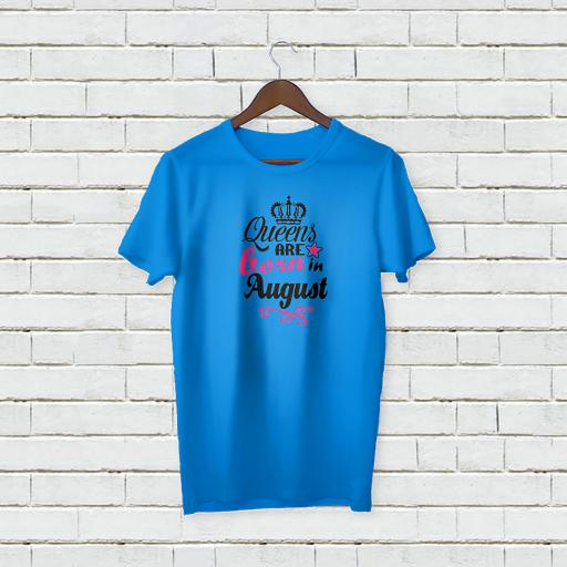 Personalised Text Your Name On Crown Logo Queens Are Born In August T-Shirt (1).jpg