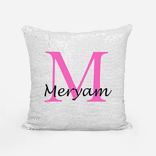 Personalised Sequin Magic Cushion For Her - Initial M and Name