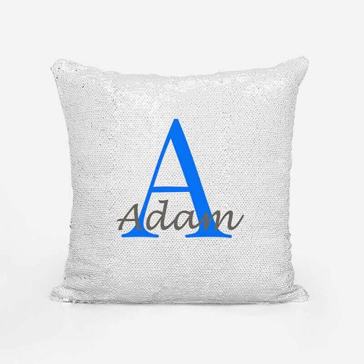 Personalised Sequin Magic Cushion For Him - Initial A and Name