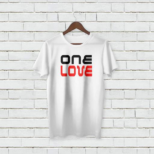Personalised 'One Love' text T-Shirt - Add Your Text/Name