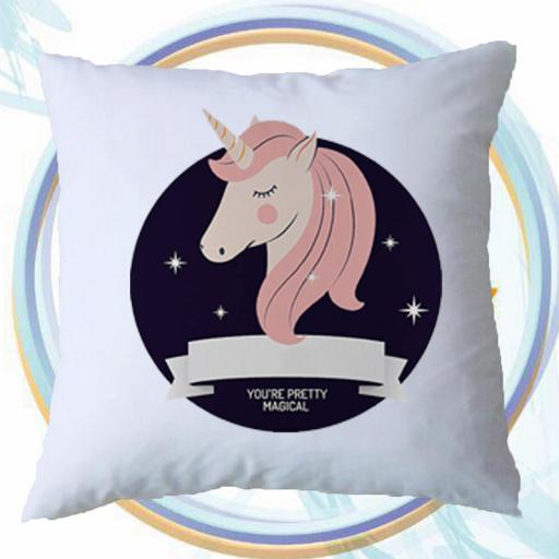 Personalised 'You're Pretty Magical' Cushion Cover with Unicorn Design – Add Name