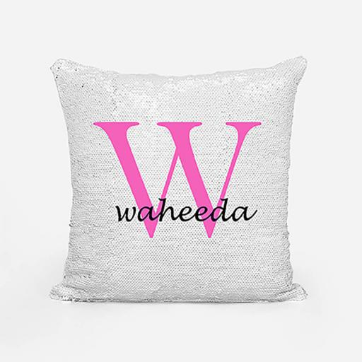 Personalised Sequin Magic Cushion For Her - Initial W and Name