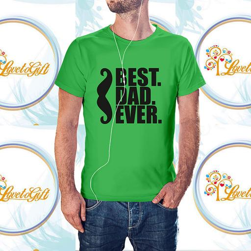 Personalised 'Best Dad Ever' with Moustache T-Shirt - Add Your Text/Name