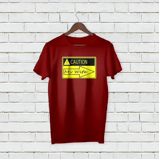 Personalised Text Caution My Wife T-shirt (4).jpg