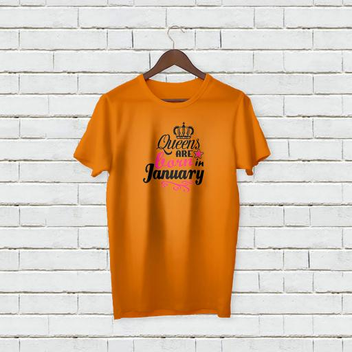Personalised Queens are Born in January T-Shirt - Add Your Text/Name.