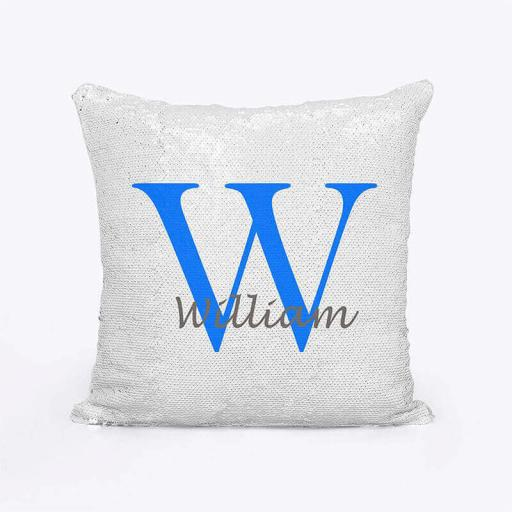 Personalised Sequin Magic Cushion For Him - Initial W and Name