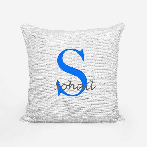 Personalised Sequin Magic Cushion For Him - Initial S and Name