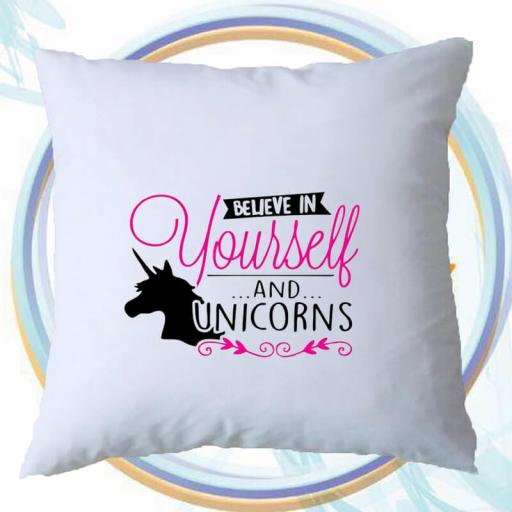 Personalised 'Believe in Yourself' Cushion Cover with Unicorn Design – Add Name