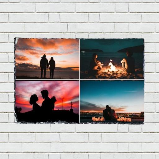 Personalised 4 Photo Collage Rectangular Rock Slate
