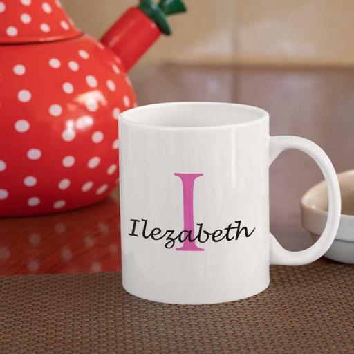 Personalised Name Mug For Her - Initial I & Name