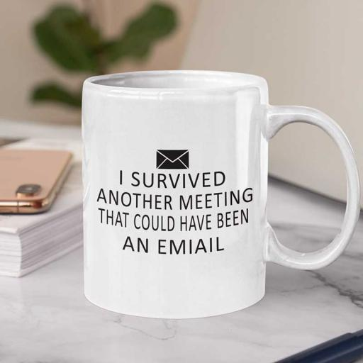 Personalised 'I survived Another Meeting That Could Have been an Email' Mug