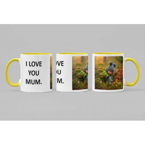 Personalised Yellow Coloured Inside Mug with Your Image and Text