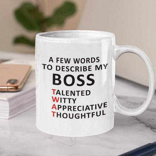 Personalised 'A Few Words to Describe My Boss' Mug