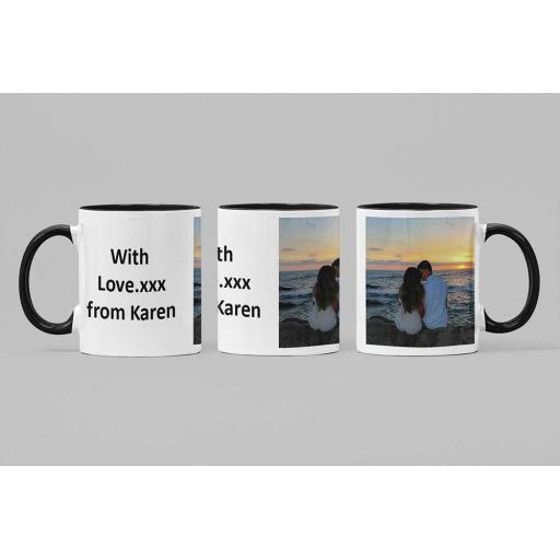 Personalised Black Coloured Inside Mug with Your Image and Text