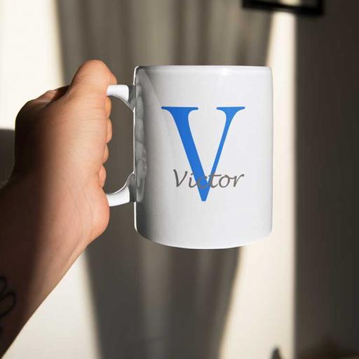 Personalised Name Mug For Him - Initial V & Name