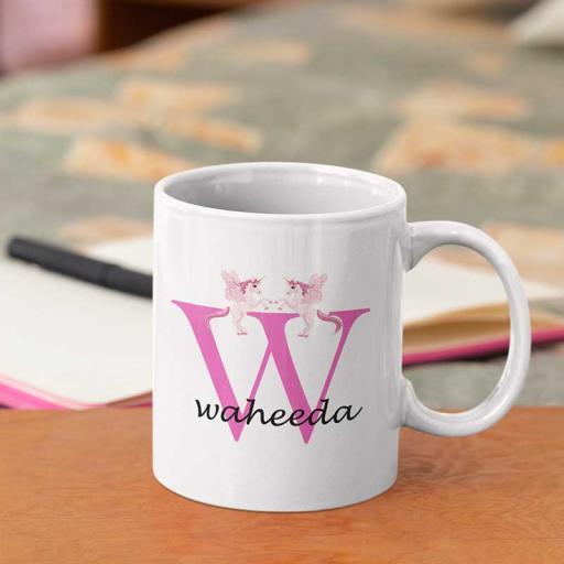 Personalised Unicorn Mug For Her- Initial W & Name
