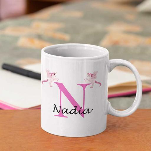 Personalised Unicorn Mug For Her- Initial N & Name