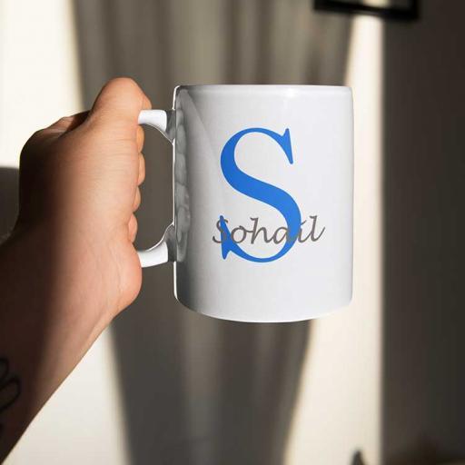 Personalised Name Mug For Him - Initial S & Name