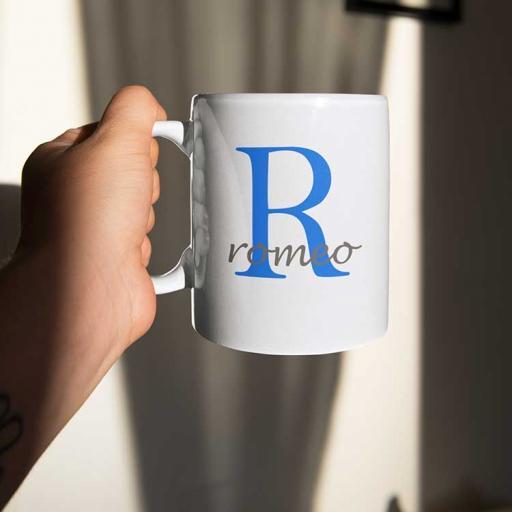Personalised Name Mug For Him - Initial R & Name