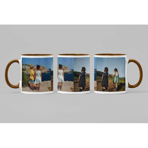 Personalised Brown Coloured Inside Mug with Your Image and Text