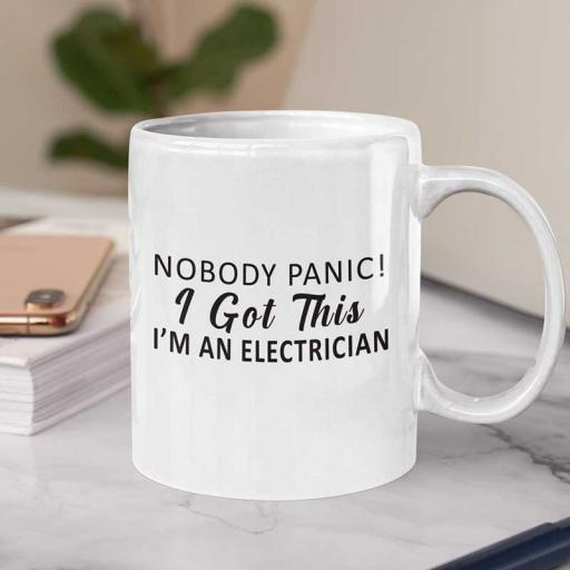 "Personalised ""Nobody Panic. I am an Electrician"" Mug"