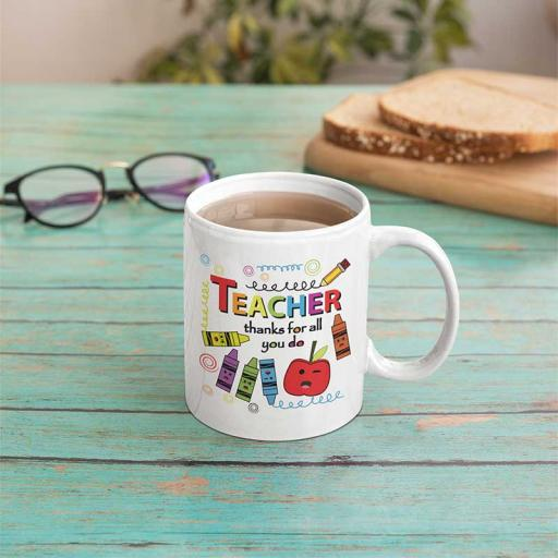 Personalised Teacher Thanks For All You Do Mug - Add Name/Text