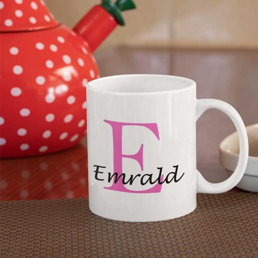 Personalised Name Mug For Her - Initial E & Name