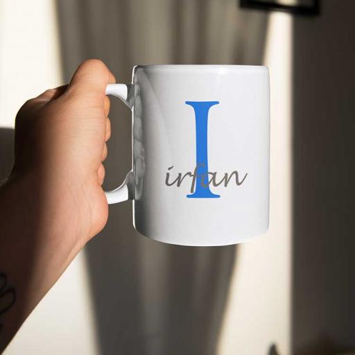 Personalised Name Mug For Him - Initial I & Name
