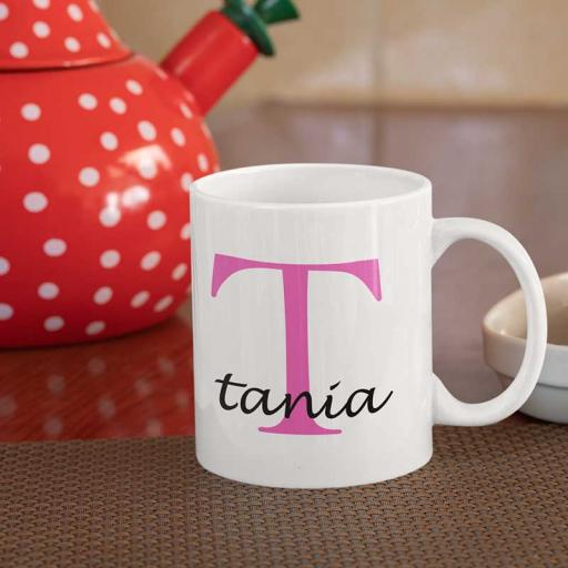 Personalised Name Mug For Her - Initial T & Name