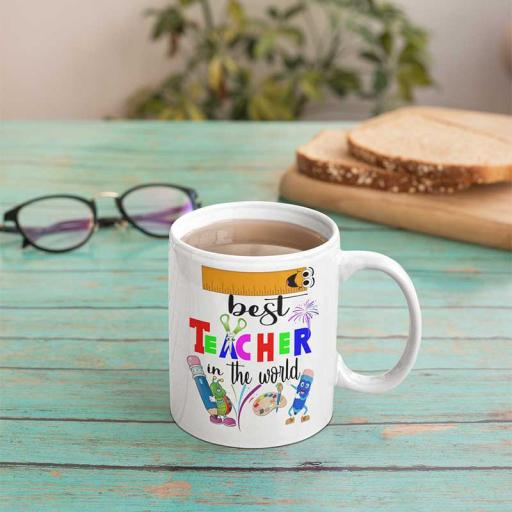 Personalised Best Teacher In The World Mug - Add Name/Text