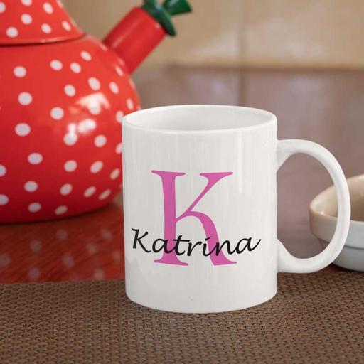 Personalised Name Mug For Her - Initial K & Name