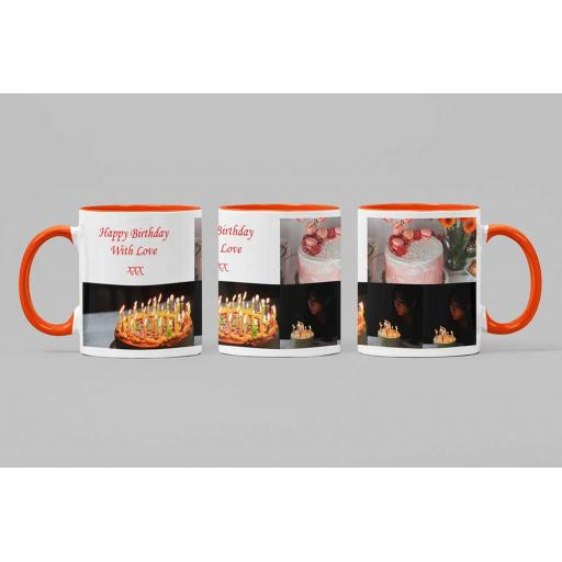 Personalised Coloured Inside Mug Orange with 3 Photo Collage and Text