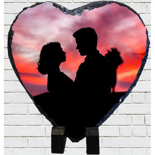 Personalised Heart Shaped Photo Rock Slate