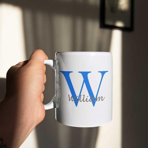 Personalised Name Mug For Him - Initial W & Name