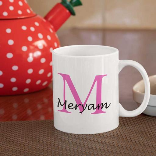 Personalised Text Mug For Her- Initial M & Name