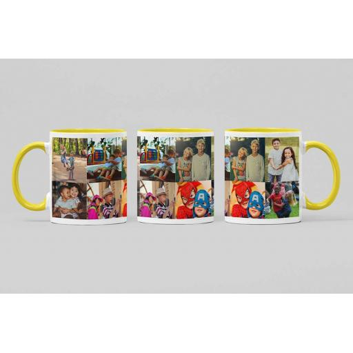 Personalised Yellow Coloured Inside White Handle Mug with 8 Photo Collage