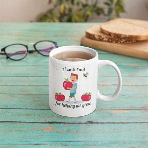 Personalised Thank You Teacher for Helping me Grow Mug - Add Name/Text